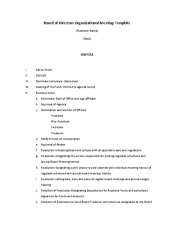 Example Organizational Board Of Director Meeting Agenda Template