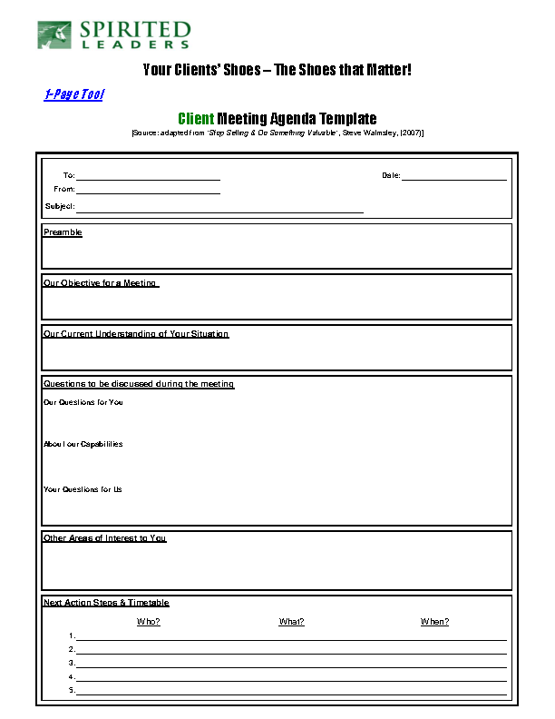 Example Product Client Meeting Agenda Template