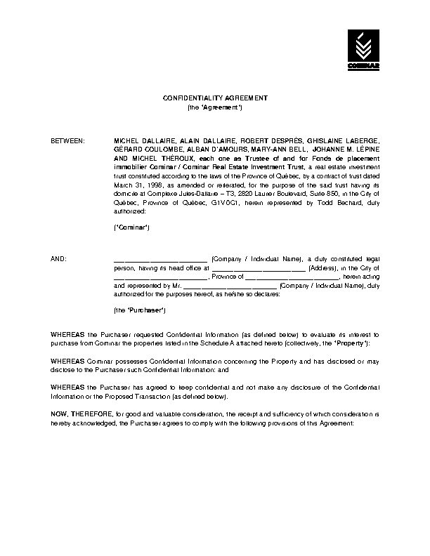 Example Real Estate Client Confidentiality Agreement