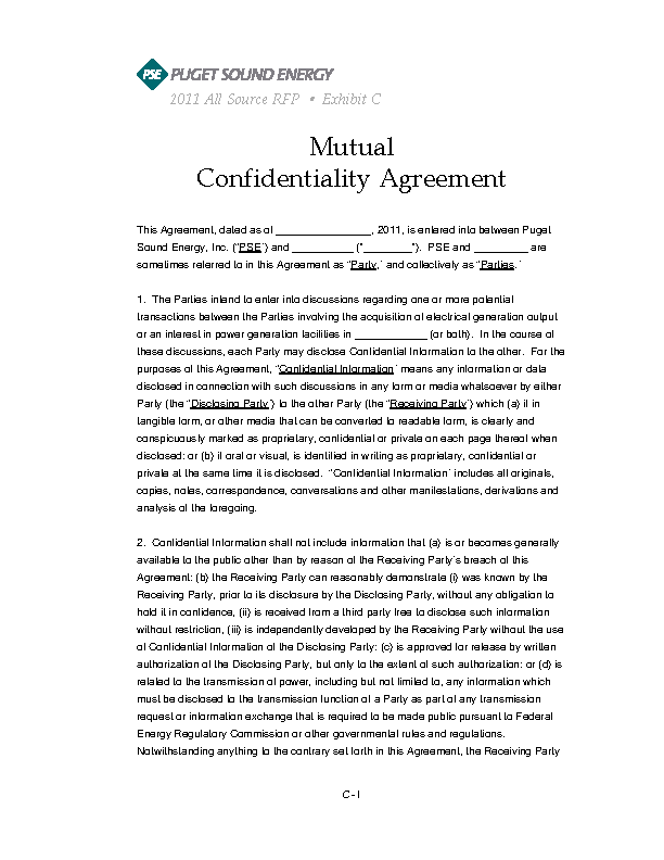 Example Standard Mutual Confidentiality Agreement