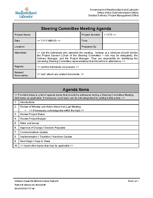 Example Steering Committee Meeting Agenda