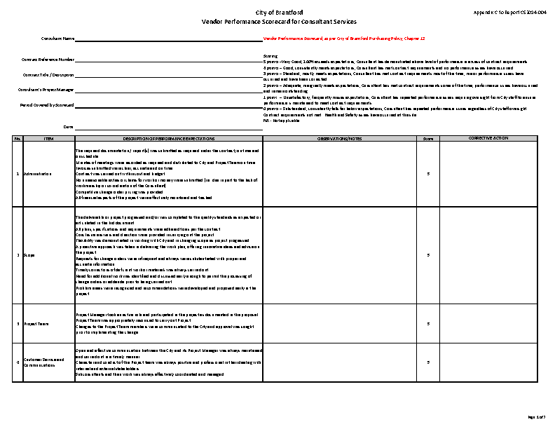 Example Vendor Performance Scorecard Template