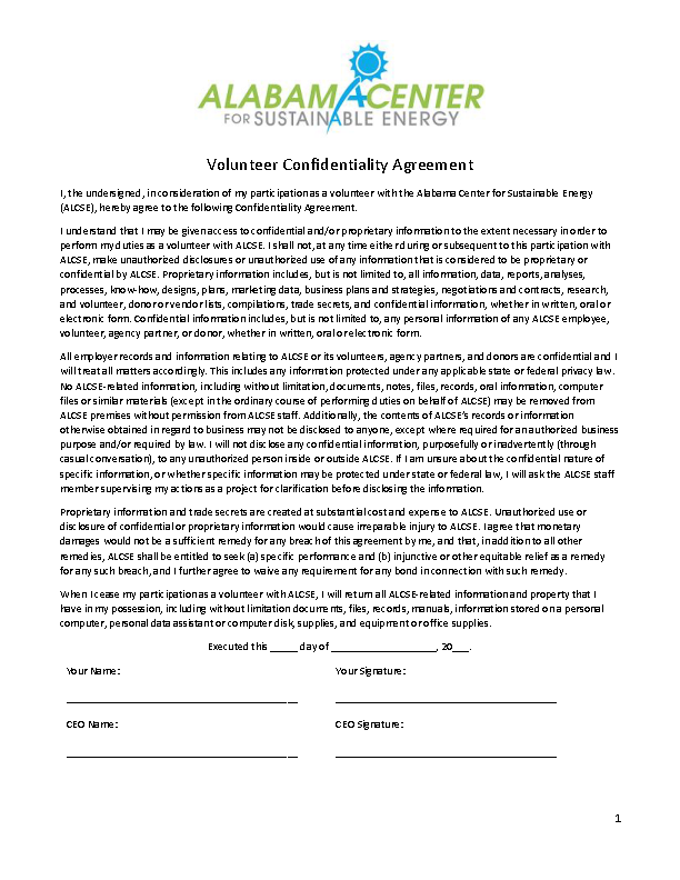 Example Volunteer Celebrity Confidentiality Agreement