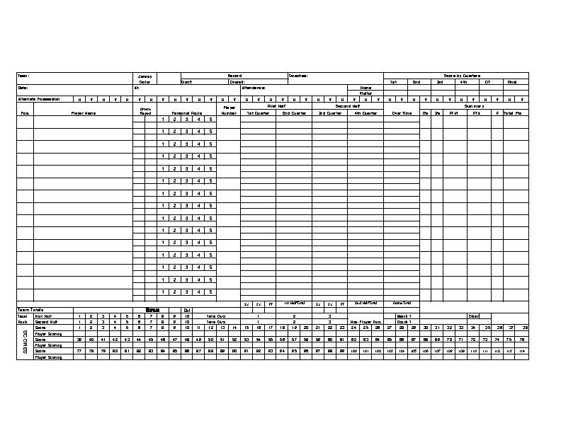 Excel Basketball Scorecard Sample Template