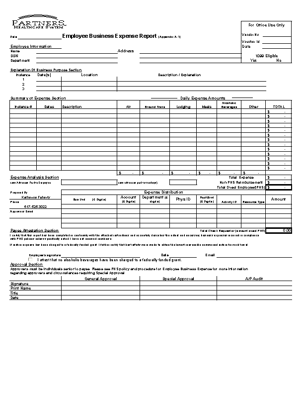 Excel Business Expense Report Form Template