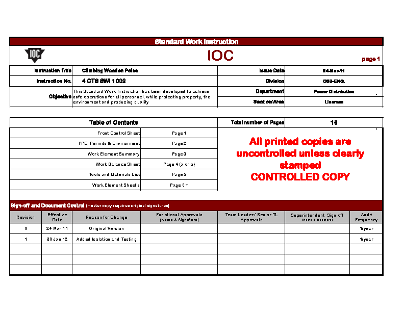 Excel Instruction Template