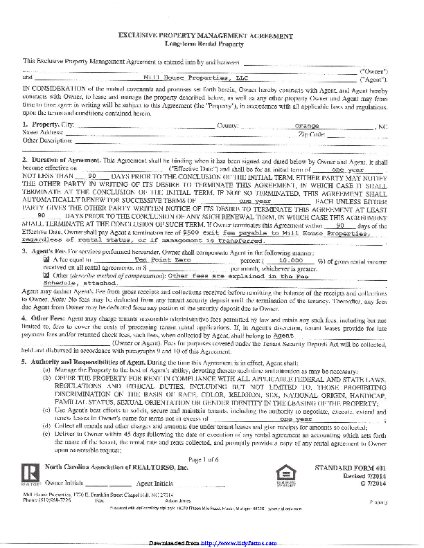 Exclusive Property Management Agreement