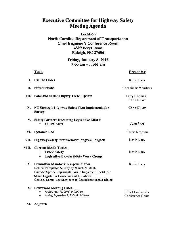 Executive Committee For Highway Safety Meeting Agenda