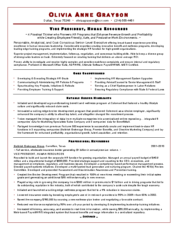 Executive Resume Sample For Hr Vp1