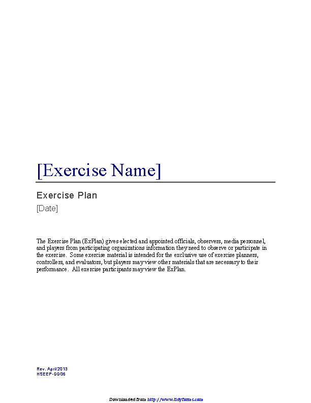 Exercise Plan Template