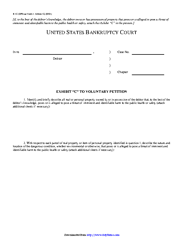 Exhibit C To Voluntary Petition