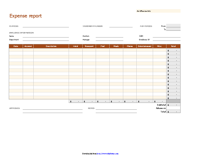 Expense Report For Office Use