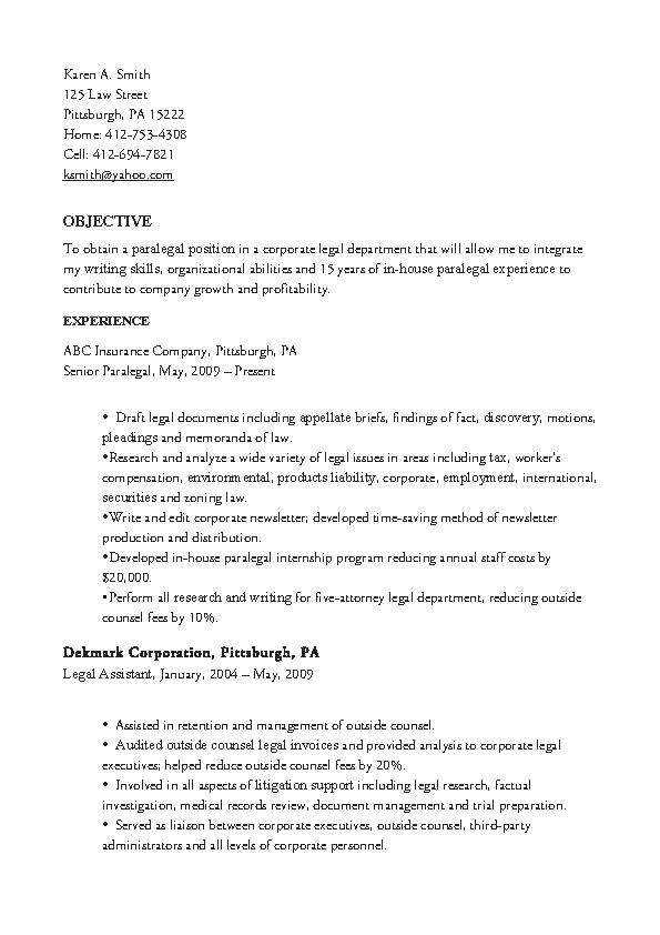 Experienced Corporate Paralegals Resume