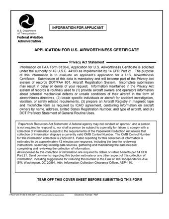 FAA 8130-6 PDF