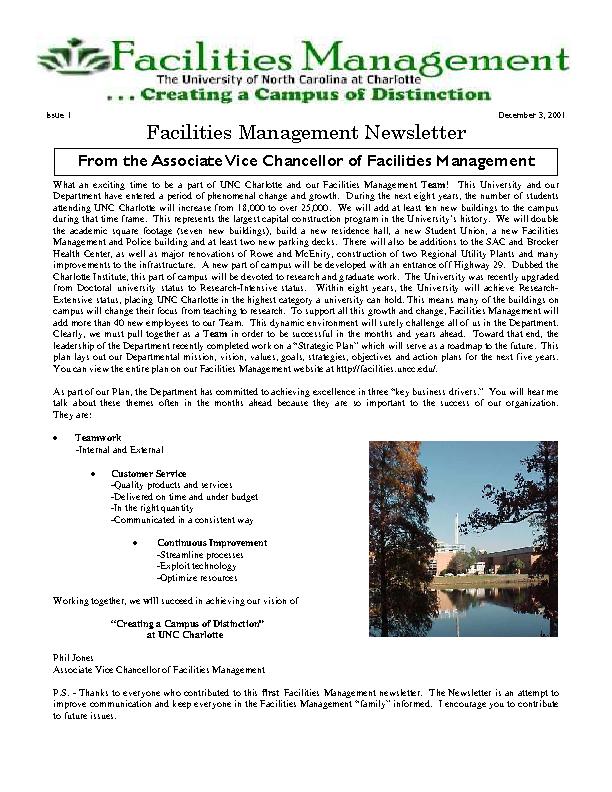 Facilities Management Newsletter