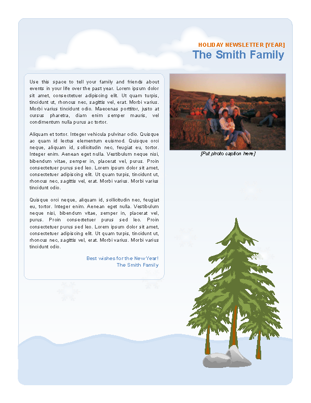 Family Holiday Newsletter Template Printable