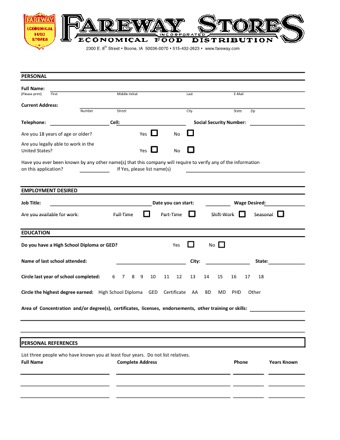 fareway application PDF
