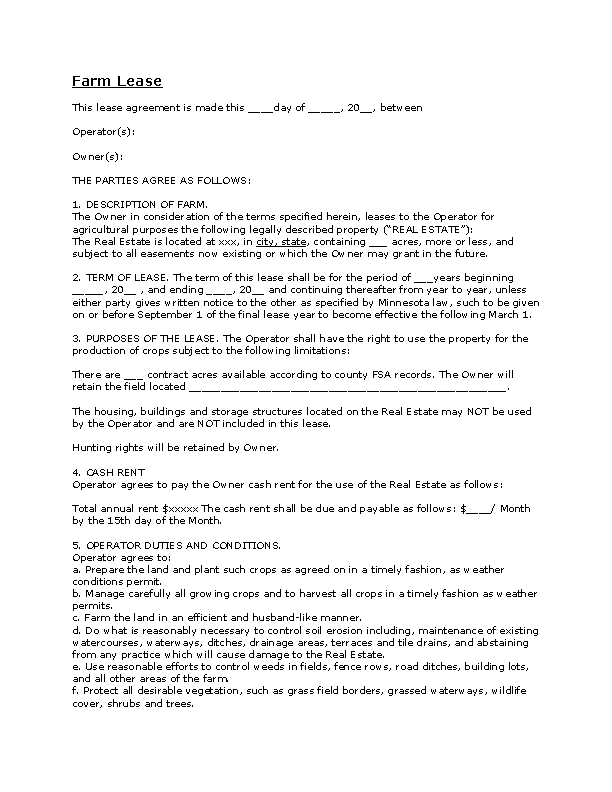 Farm Lease Agreement Free Download