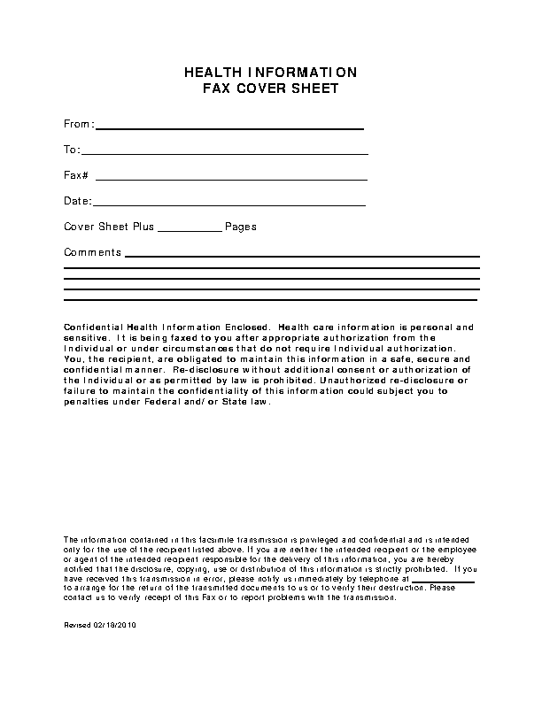 Fax Cover Sheet For Health