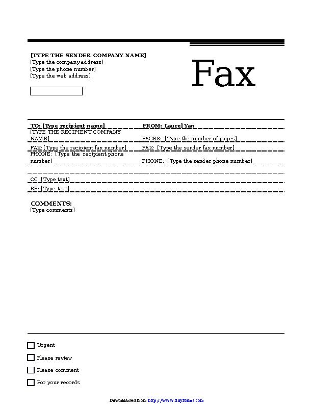 Fax Cover Sheet Urban Theme