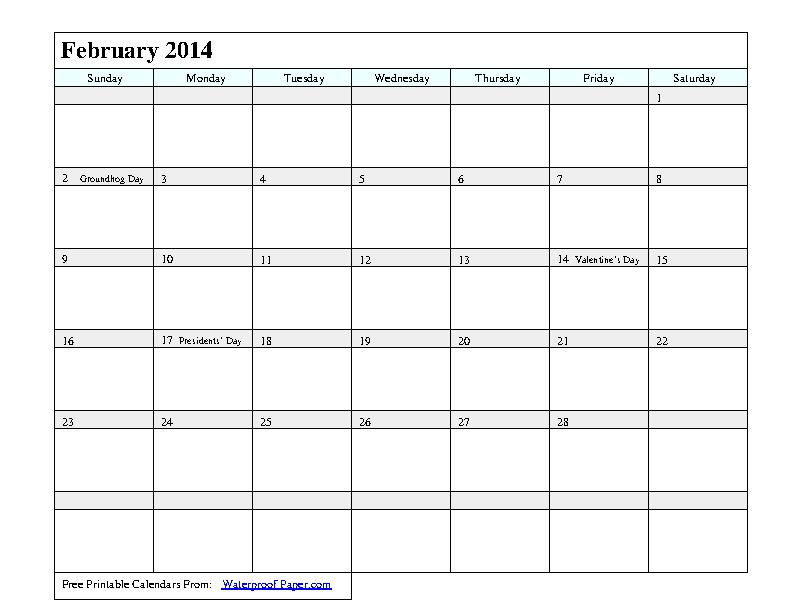 February 2014 Calendar 1
