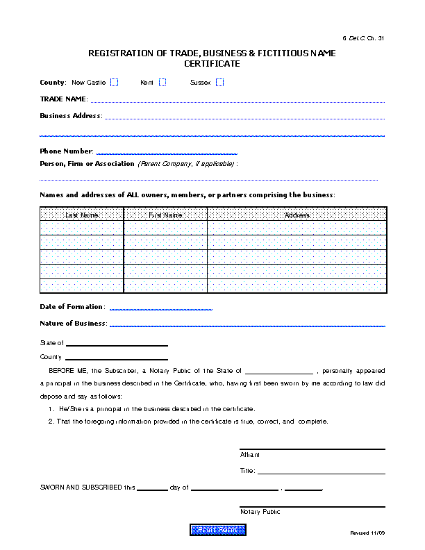 Fictitious Names Registration Certificate 1009