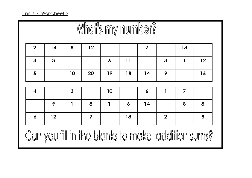 Fill The Numbers Addition And Subtraction Worksheet Template - PDFSimpli