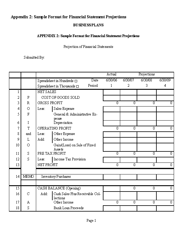 Financial Statement Projection1