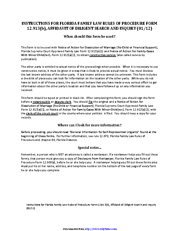 Florida Affidavit Of Diligent Search And Inquiry