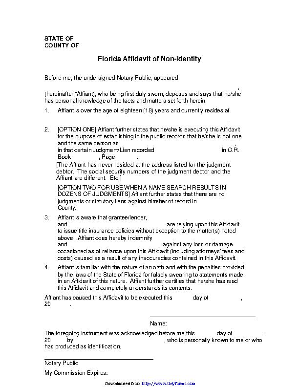 Florida Affidavit Of Non Identity