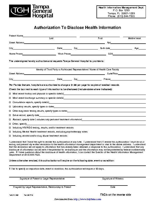 Florida Authorization To Disclose Health Information