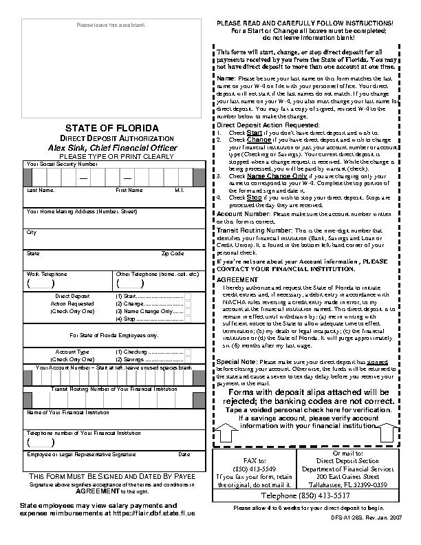 Florida Direct Deposit Form 3