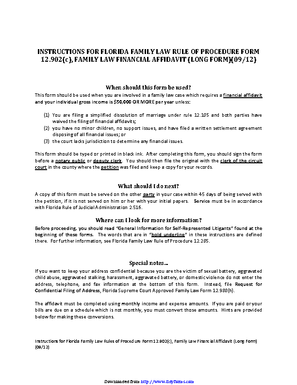 Florida Family Law Financial Affidavit Long Form - PDFSimpli