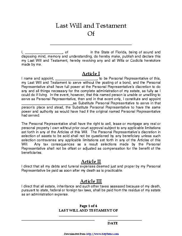 Florida Last Will And Testament Form Pdf Pdfsimpli