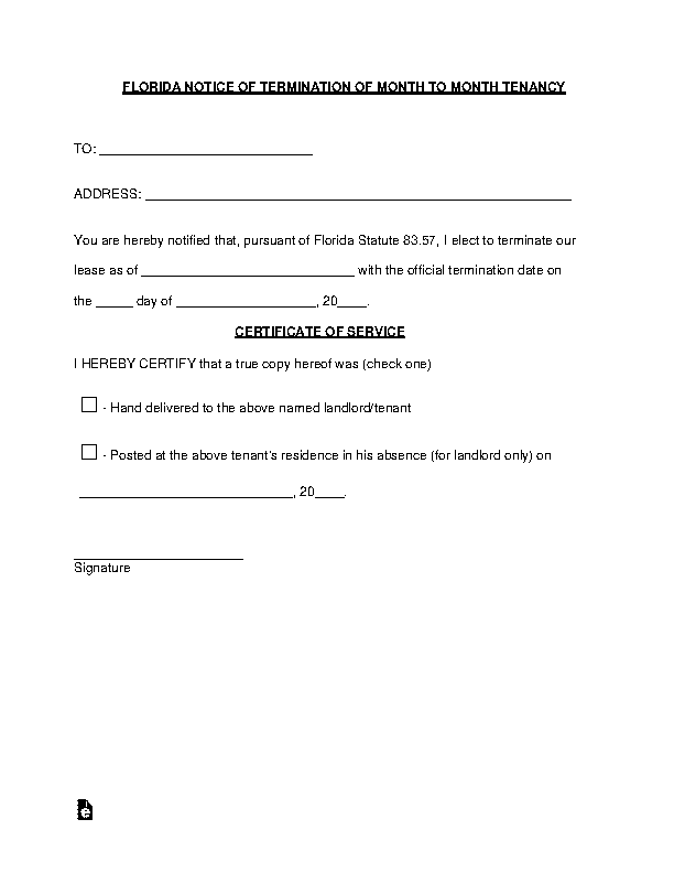 Florida Lease Termination Letter Form