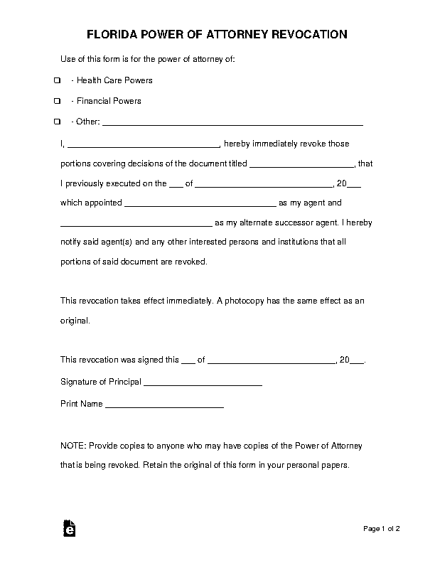 Florida Power Of Attorney Revocation Form