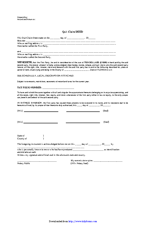 Florida Quitclaim Deed Form 1