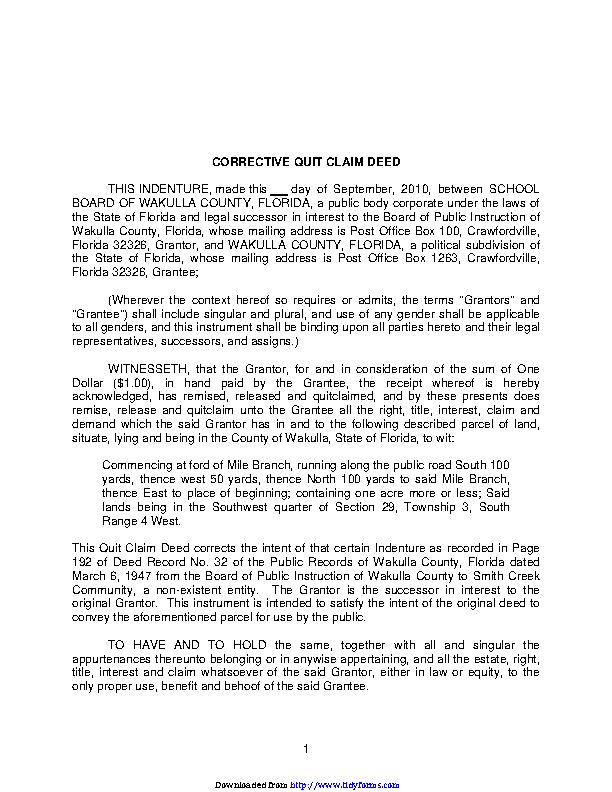 Florida Quitclaim Deed Form 2