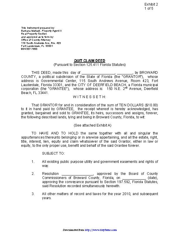 Florida Quitclaim Deed Form 3