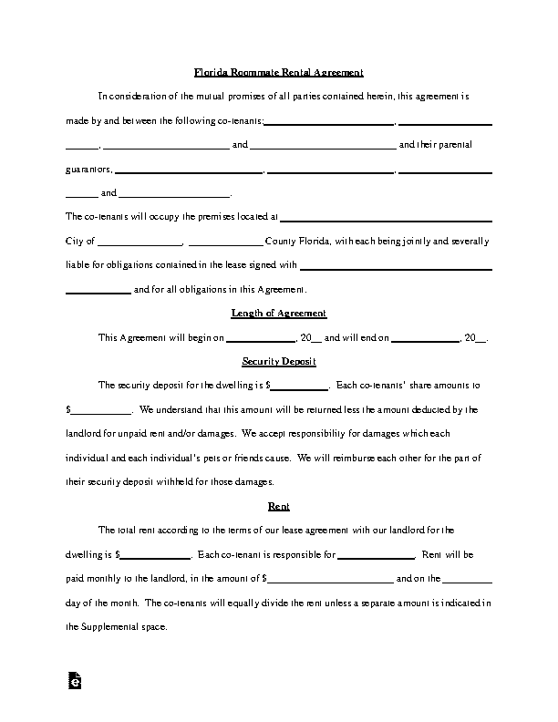 Florida Roommate Rental Agreement Template