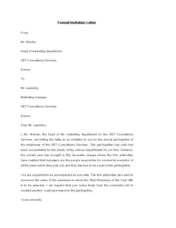 Formal Invitation Letter Template