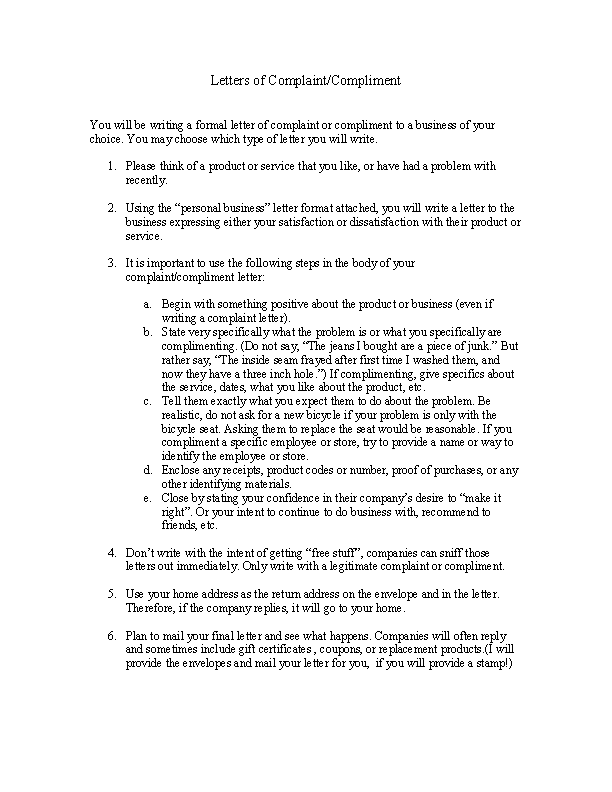 Formal Letter Of Complaint Template - PDFSimpli