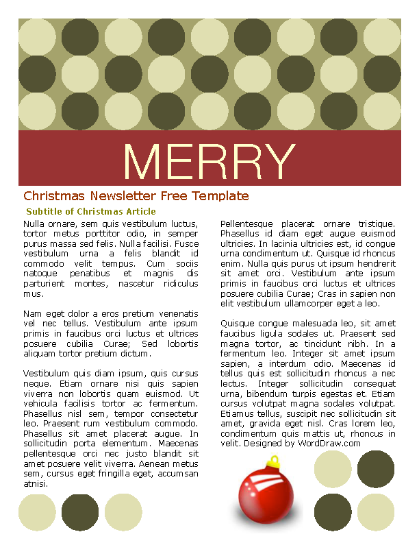 Free Christmas Newsletter Template Word Format Pdfsimpli