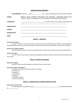 Construction Contract Template Pdf Pdfsimpli