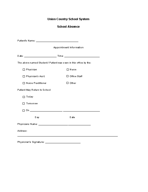 Free Doctors Note Template For School Absent