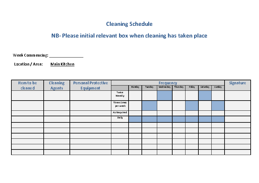 Free Download Commercial Kitchen Cleaning Schedule Word Doc