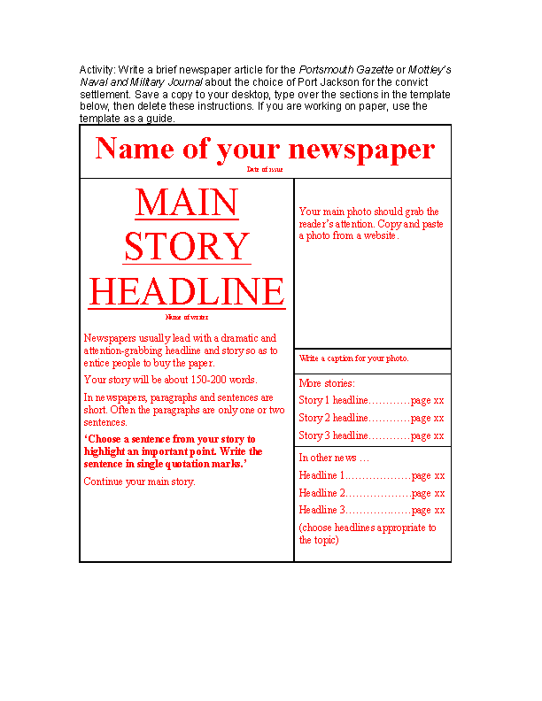 Free newspaper template word document