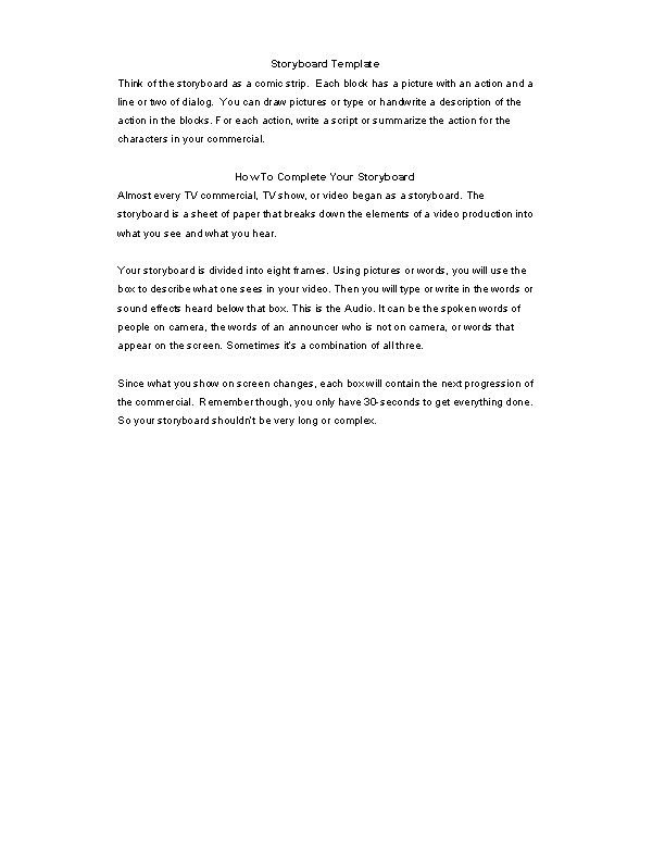 Free Tv Commercial Storyboard Template Microsoft Word Format Pdfsimpli