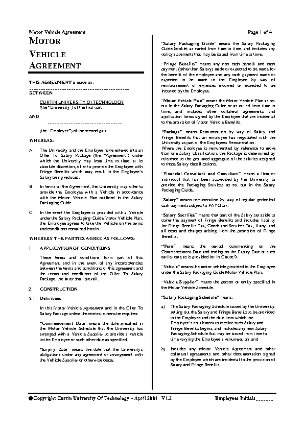 Free Vehicle Lease Agreement Template Pdfsimpli