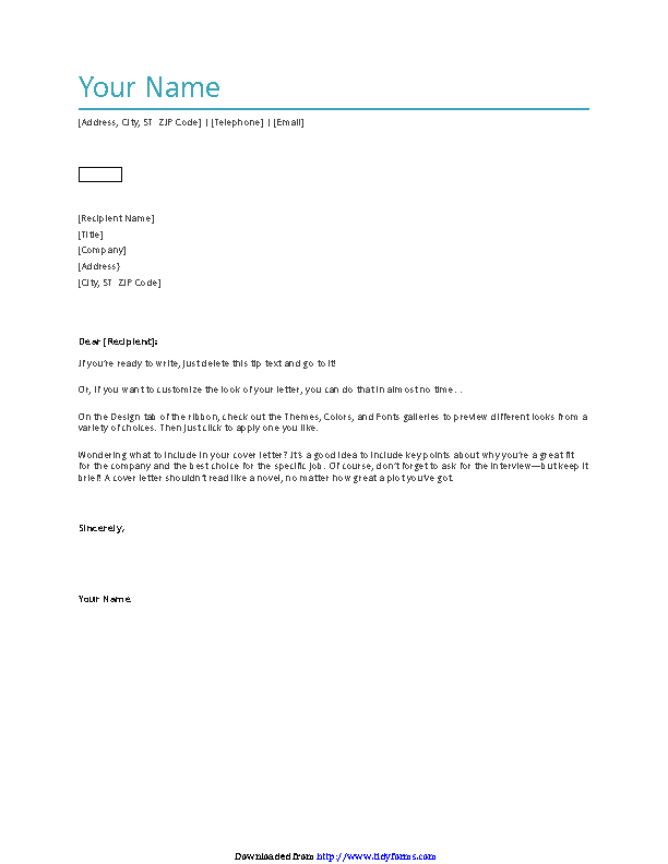 General Cover Letter Template 2